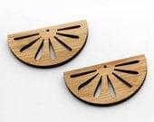 2 Lotus Fan Beads : Bamboo