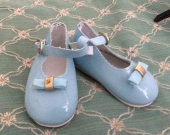 Vintage Blue Patent Leather Doll Shoes