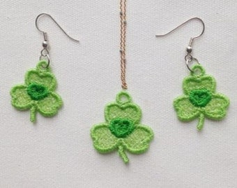 FSL Earrings And Pendant Shamrocks Machine Embroidery Design Free Standing Lace Instant Download 4x4 hoop APE2045-009