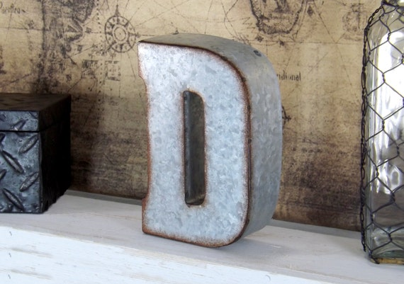 7 inch metal letter shelf decor galvanized letter rustic. Black Bedroom Furniture Sets. Home Design Ideas