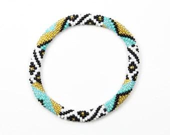 Beaded Nepal Bracelet, Preppy Bracelet, Glass Bead Bracelet Nepal, Teal Nepal Roll On Bead Bracelet, Handmade Seed Bead Bracelet S-448