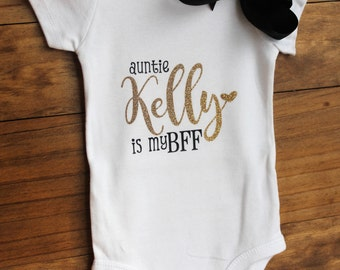 My Aunt is my BFF, Personalized, Shower Gift, Niece-Girl, Glitter, Carters