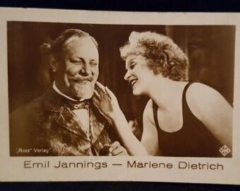 Original 1930's Marlene Dietrich Emil Jannings Cigarette Card German Cigarettes