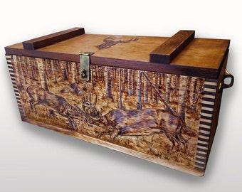 Woodburned Custom Ammo Box