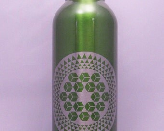 Cubes & Star, Crop Circle #1, Sugar Hill 2007, Stainless Steel Etched Water Bottle