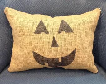 Pumpkin Burlap Halloween Pillow, Pumpkin Pillow, Burlap Pillow, Halloween Pillow, Halloween Decoration, Front Porch Decoration