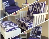 American Girl ~ 6 Piece Purple Zebra Print Collection- 2 Chairs with Ottomans, End Table and Coordinating Lamp