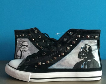 Star Wars hand painted shoes Stormtropper and Darth Vader black sneakers with spikes size 41