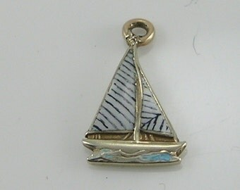 Vintage 9ct Gold Enamel Yacht Charm