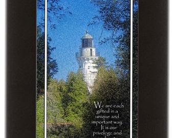 Door County Lighthouse framed-black