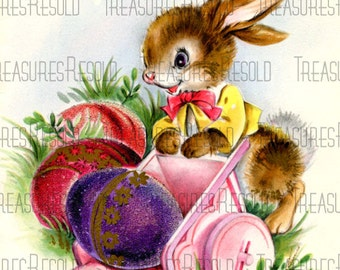 Bunny Pushing A Cart Of Easter Eggs Card #31 Digital Download
