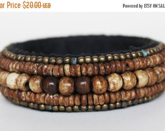 Brown Bangle/ Beaded Bracelet/ Beaded Bangle/ Ethnic Bracelet/ Tribal Bracelet/ Bangle Bracelet/ Cuff Bracelet - 1 PIECE
