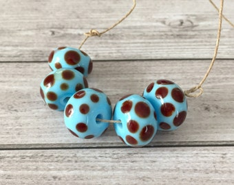 2+ Blue brown  beads  handmade lampwork glass bead