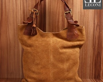 LECONI-LAN bag of shopper bag leather bag lady bag soft suede leather cognac LE0033-VL