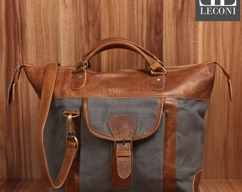 LECONI-LAN bag shoulder bag lady bag natural leather bag of canvas leather grey LE0043-C