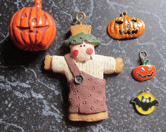 Halloween Pendant Lot Pumpkins, Scarecrow and Bat Whimsical Fun