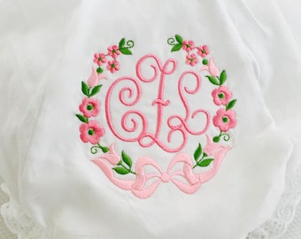 Bloomers with Lucy Motif Monogram in Pinks and Greens