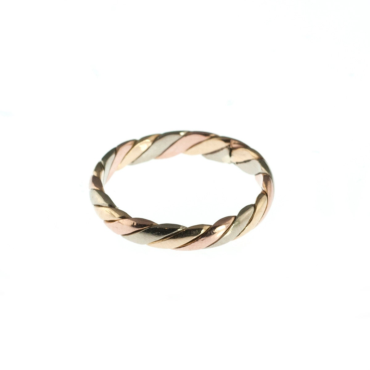 14k tri tone gold wedding band