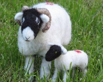 Handmade needle felted Swaledale ewe with lamb