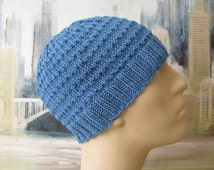 Men's Hat Pattern 'Chaz', Men's Knitted Hat Pattern, or Chemo Hat Pattern, Cotton Yarn, men's knit beanie