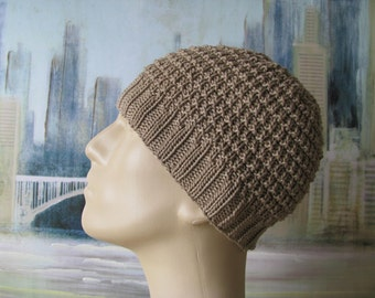 Men's Hat Pattern 'Buzz', Men's Knitted Hat Pattern, or Chemo Hat Pattern, Cotton Yarn, men's knit beanie
