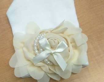 EXCLUSIVE Newborn Hospital Hat Beautiful Light Tan Chiffon Flower, With Satin Bow, Pearls and Petals. Simply Divine! Perfect for Baby Girl!