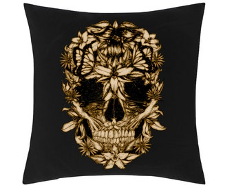 Gothic Skull Flowers Cushion Cover (C016)