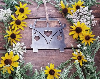 Volkswagen Van Christmas Ornament Love VW Metal State Heart Christmas Tree Ornament Holiday Gift Wedding Favor By BE Creations