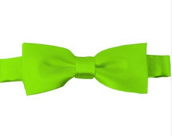 Kids Solid Pre-Tied Lime Green Bow Tie