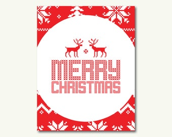 """Merry Christmas Knit Sweater Deer Holiday Christmas Art Print - INSTANT DOWNLOAD - 11""""x14"""""""