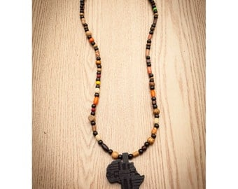 Black Africa on Mix of Colorful Beads