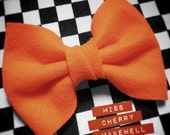 Large Bright Orange Tango Felt Hair Bow 1950's Vintage Pin Up Kawaii Inspired Hair Clip Hair Piece Headpiece by Miss Cherry Makewell