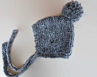 Gray pixie hat, pom pom pixie hat, unisex baby hat, knit baby hat, knit pixie bonnet, pom pom baby hat, newborn pixie hat, knit pom pom hat