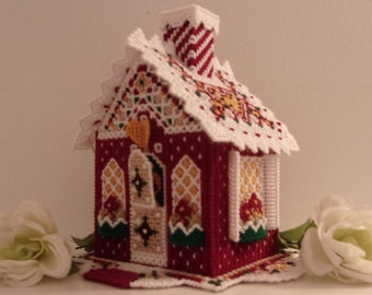 Gingerbread Houses-Handmade Items-Table Centerpieces-Plastic Canvas-Home-Decor-Wedding-Party-Burgundy-Centerpieces