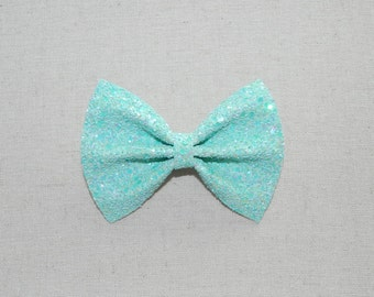 Robin's Egg Blue Glitter Bow Tie and Hair Bow, Aqua Glitter Bow Tie and Hair Bow