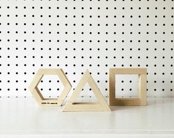 Mini Geometric Reclaimed Wood Shapes | Set of 3 | Made in KC MO USA | Geometric
