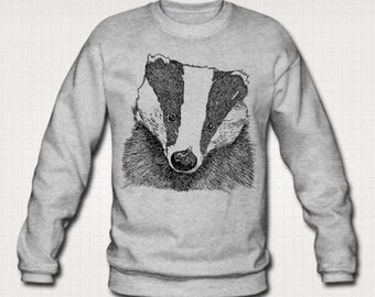 Badger Print Ethically Produced Sweatshirt Sweater For Men. Sizes M-XXL.Heather Grey.