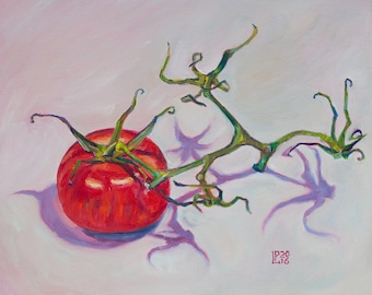 Oil Painting The Last One Original Artwork Home Decor Wall Decor Wall Hanging Art Still Life Tomato Branch 22x27.5cm