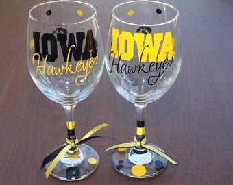 Iowa Hawkeyes Glassware, Sports Teams, Go Hawks!