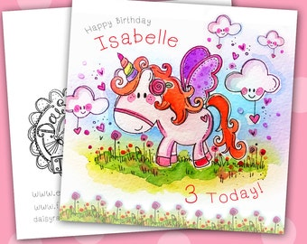 Handmade Penelope Unicorn Watercolour print card with lots of sparkle!