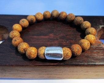 Wood Texture Stone Bracelet Wood Stone Bracelet Wood Gemstone Bracelet Yoga Bracelet Meditation Bracelet Wood Texture Gemstone Wood Stone