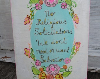 cute no religious solicitations sign, no religion, no religious queries, atheist, agnostic, humanist, wood sign, door hanger, atheist art