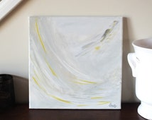 a new day dawning \\ Yellow and Gray Original Acrylic Abstract Painting