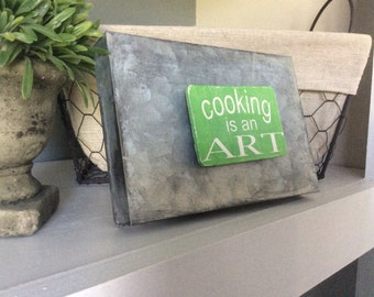 Kitchen Magnet, Wood Magnet, Cooking is an Art