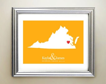 Virginia Custom Horizontal Heart Map Art - Personalized names, wedding gift, engagement, anniversary date