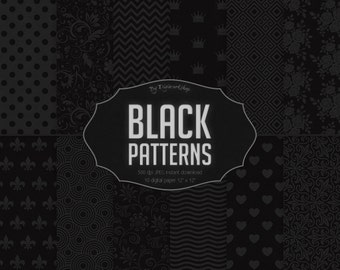 "Black Digital Paper - ""Black Patterns"" with digital black patterns and digital black backgrounds in black, gray colors"