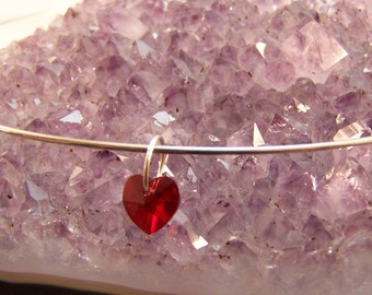 Swarovski Crystal Heart Hoop Necklace, Romantic Jewelry, Valentines, Red Heart, Young Girl, Love