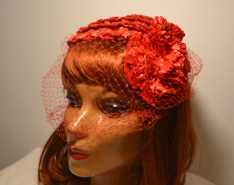1950s Red Vintage Veil Hat! Free U.S. Shipping!