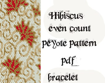 Peyote Pattern for bracelet: Hibiscus Flower- INSTANT DOWNLOAD pdf