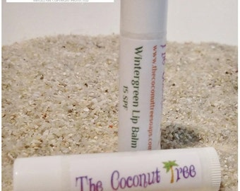 Wintergreen Flavored Lip Balm / All Natural Lip Balm / Coconut Oil / Shea Butter / Cocoa Butter / SPF Lip Balm / No Animal by products